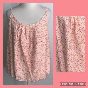 Gap Pink/White Floral Silk Blend Lined Tank Top S